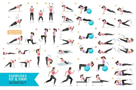 fitness aerobic and exercises illustrations creative market