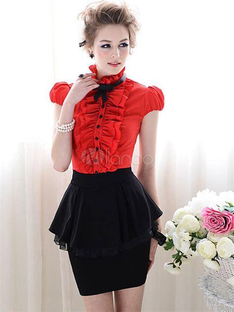 Blouse Atasan Wanita Black Flounced Sleeve L Murah Original beautiful polyester solid color ruffles stand collar puff sleeves s blouse milanoo