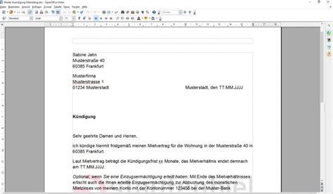 Wie Kündige Ich Einen Mietvertrag by K 252 Ndigung Mietvertrag Vorlage Vermieter