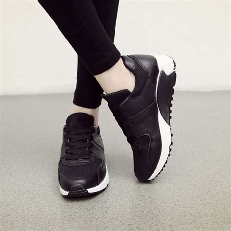 wedge sports shoes fashion womens lace up sneakers wedge casual sports shock