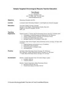 sle targeted chronological resume education