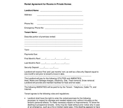 editable contract template room rental agreement template free word form