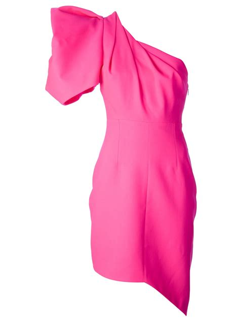 Naira Dress Pink St lyst laurent one shoulder dress in pink