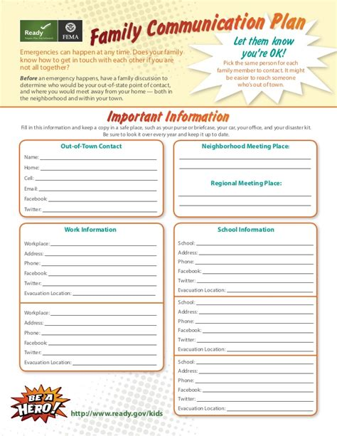 emergency communications plan template family communication plan for via fema and ready