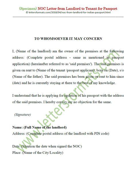 noc letter house owner landlord tenant passport