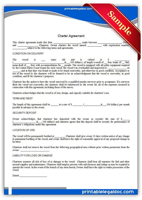 free printable charter agreement form generic