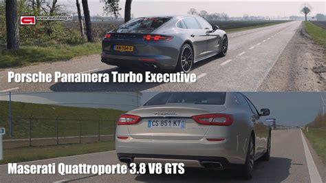 Porsche Panamera Vs Maserati Quattroporte by Porsche Panamera Turbo Vs Maserati Quattroporte Gts Speed