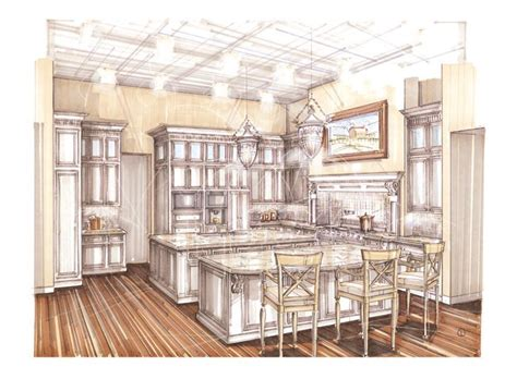 Marker Rendering Interior Design by Rendering Kitchen Perspective In