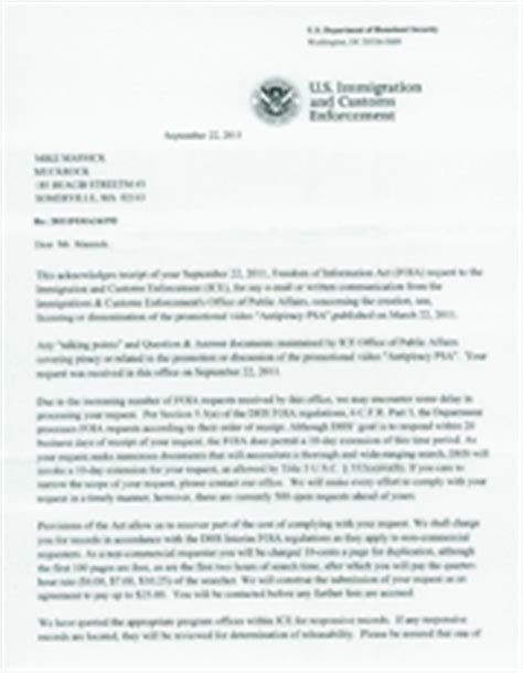 Acknowledgement Letter Immigration Communication Between Uschamber Of Commerce About Antipiracy Psa