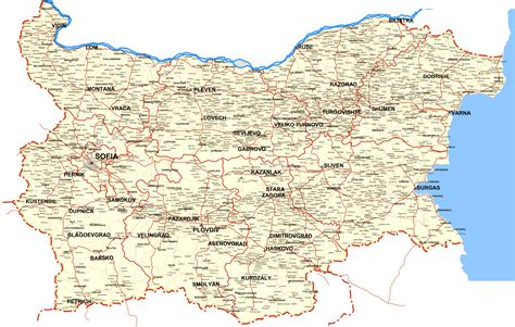 maps with cities a map of bulgaria