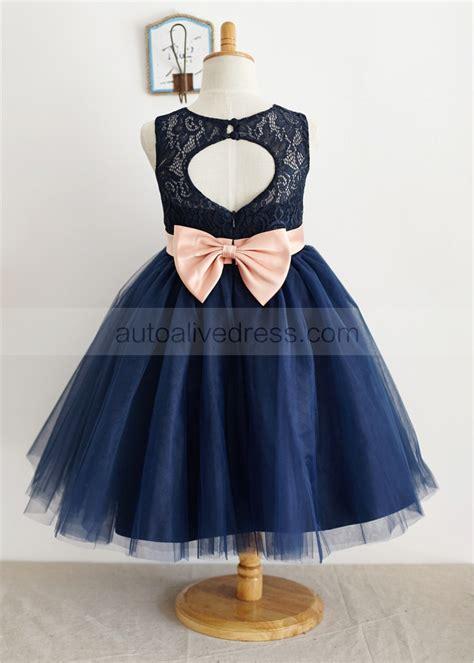 Kidz Dress Flower Brokat Navy navy blue flower dresses kzdress