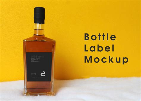 whiskey bottle label mockup psd mockup