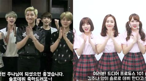 bts gfriend watch bts and gfriend show support for kim joo na s