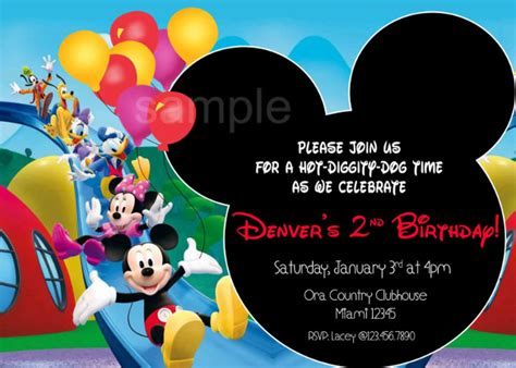mickey mouse clubhouse birthday party invitations wblqual com