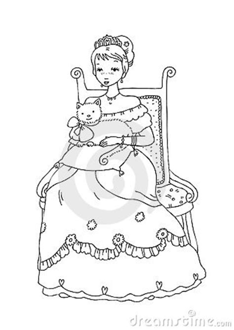 chinese cat coloring page princess with cat coloring page stock photos image 9549023