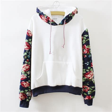 Hoodie White Flower vintage sleeve one size floral printed hoodie