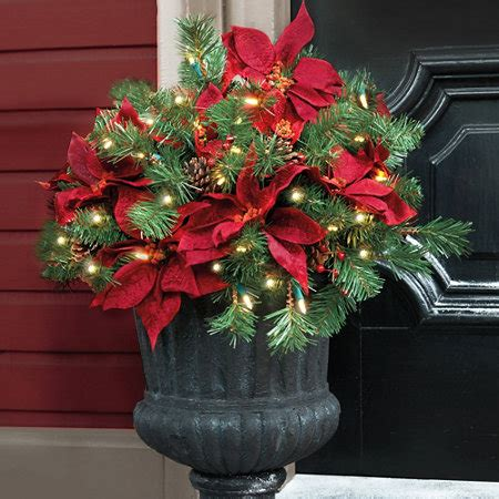 christmas decoration for urn pre lit poinsettia urn filler improvements catalog