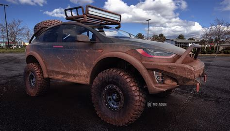 mudding cars tesla model x off road conversion looks like the real deal