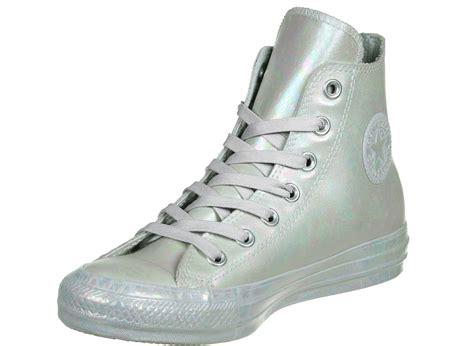 silver converse sneakers converse all rubber slick hi w shoes silver