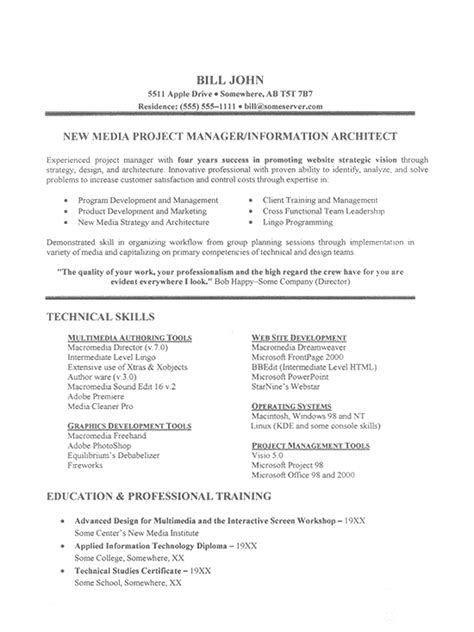 Technical Skills On Resume by Technical Skills Resume Exles