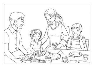 coloring page of family eating dinner pancake day colouring pages