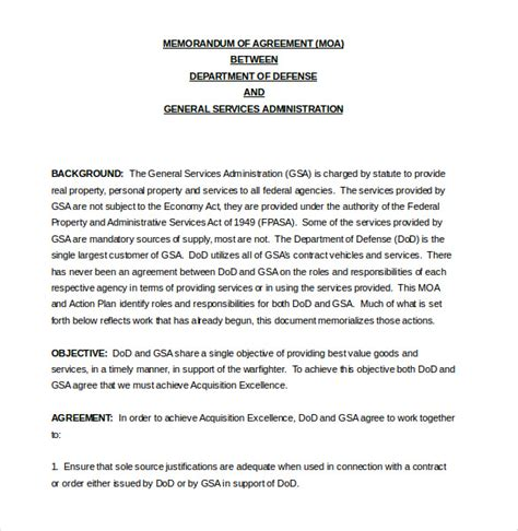 memorandum of agreement template 12 free word pdf