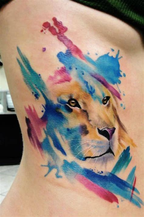 watercolor tattoos new jersey lioness watercolor tattooideaslive watercolor
