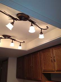 Kitchen Ceiling Light Fixtures Ideas Convert That Recessed Fluorescent Ceiling Lighting In Your Kitchen To A Beautiful Trayed