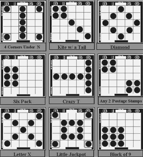 bingo pattern exles different bingo game patterns