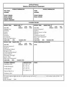 academic transcript template high school transcript form template images high