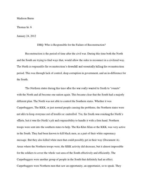 Reconstruction Dbq Essay by Dbq Who Killed Reconstruction