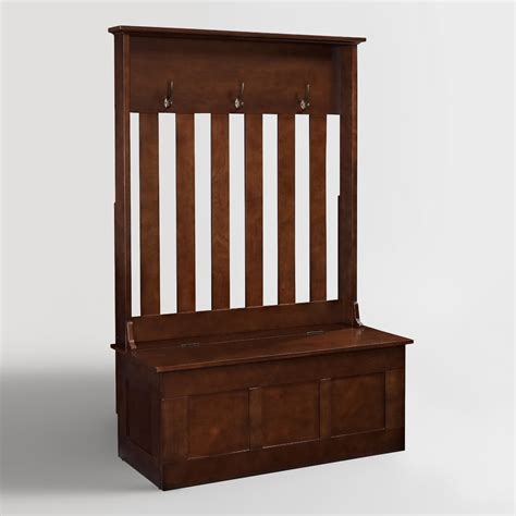 entryway bench and storage mahogany wood wentworth entryway storage bench world market
