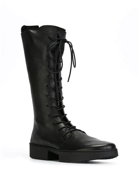 black knee high lace up boots trippen knee high lace up boots in black lyst