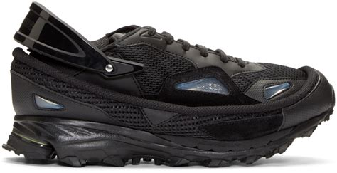 lyst raf simons black adidas by response trail sneakers in black for