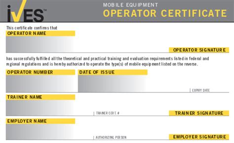 forklift operator certification card template forklift license template wallet size nextinvitation