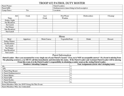 duty log template template for boy scout cing trips search boy