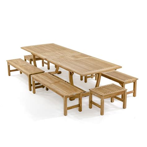 teak picnic table with benches teak extension table bench picnic set westminster teak
