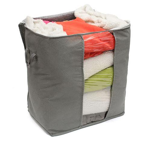 Bamboo Storage Box Cloth Organizer 4 Sisi 4 Sekat Besar foldable bamboo charcoal storage box clothes blanket