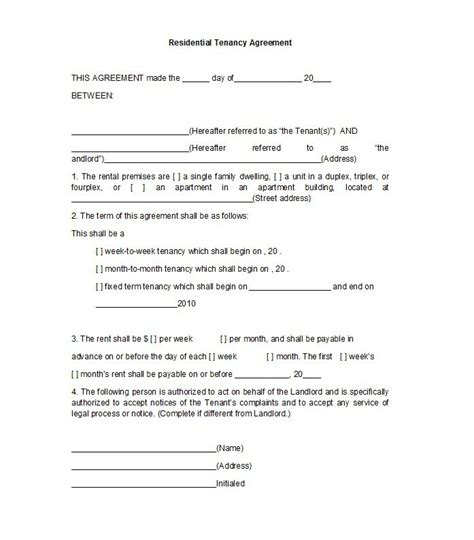 42 Rental Application Forms Lease Agreement Templates One Page Rental Agreement Template