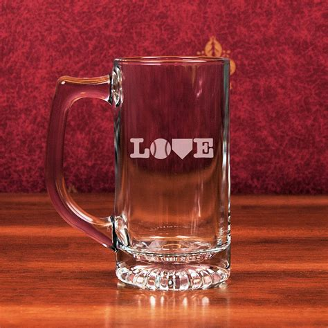 design mug bottom baseball love etched 13oz star bottom glass sports mug 2