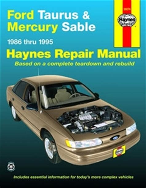 haynes repair manual for ford taurus and mercury sable covering all models for 1986 thru 1995