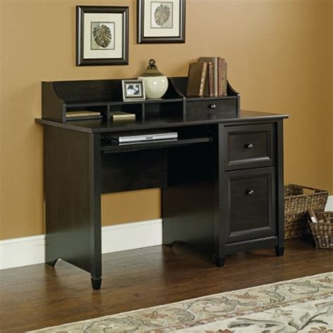 estate black computer desk with file drawer and hutch
