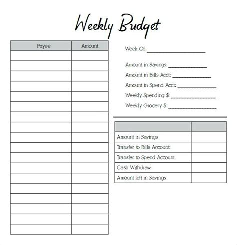 weekly budget worksheet wiildcreative