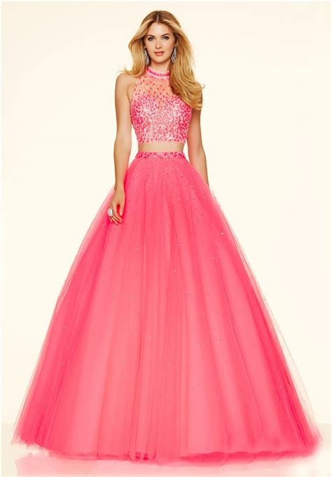 Longdress Set 2in1 Glitter Pink fashion gown high neck two pink tulle beaded prom dress