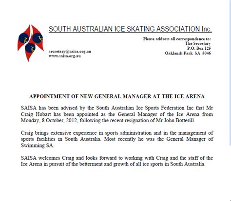 Appointment Letter Hotel General Manager Appointment Of New General Manager At The Arena Silver Blades Figure Skating Club