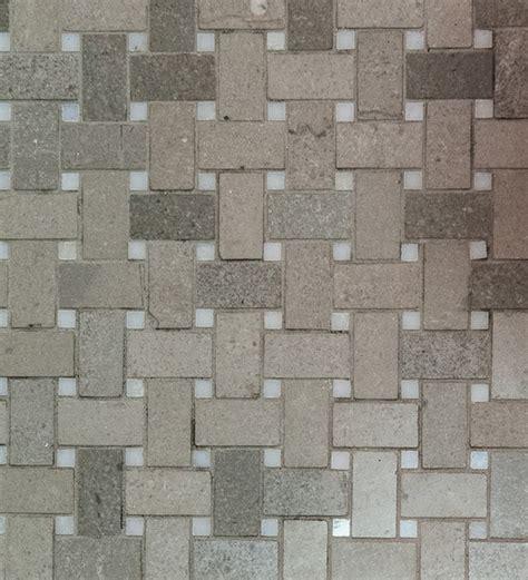 basketweave mosaic tile spain grey white dot honed
