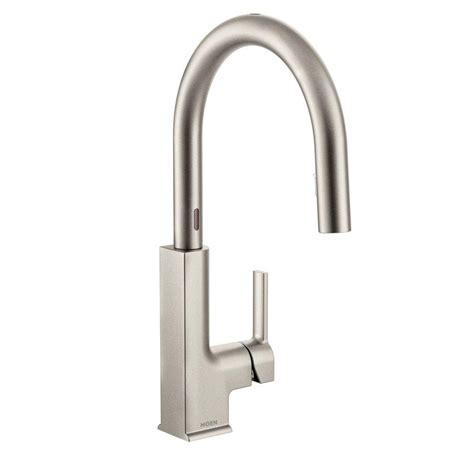 moen motionsense kitchen faucets moen woodmere single handle pull sprayer kitchen faucet with reflex in spot resist