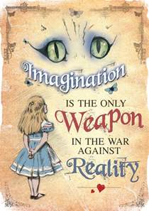 Poster art mad hatter tea party imagination is the only weapon quote