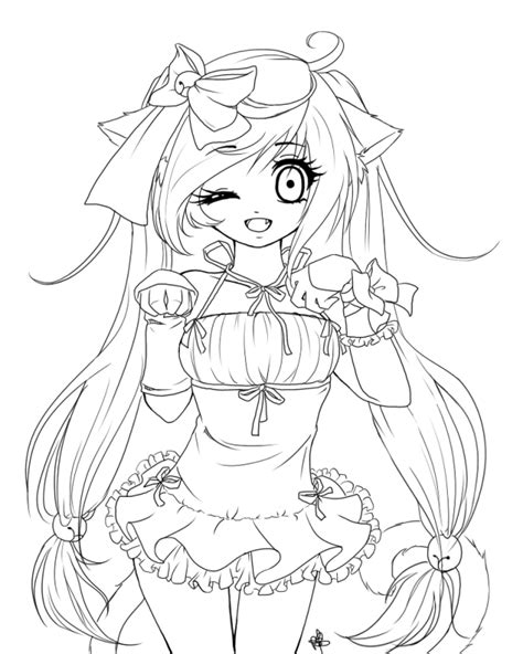 anime cat girl coloring pages anime cat girl coloring