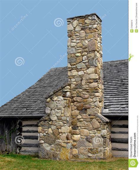 stone chimneys stone chimney on a log cabin stock photo image 27826974
